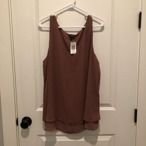 Torrid Taupe Sleeveless Double Layer Tank Top